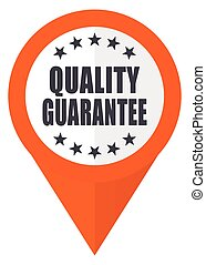 Quality guarantee orange pointer vector icon in eps 10 isolated on white background.