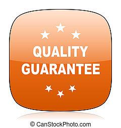quality guarantee orange square web design glossy icon