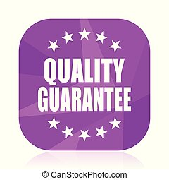 Quality guarantee violet square vector web icon. Internet design and webdesign button in eps 10. Mobile application sign on white background.