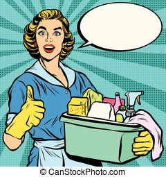 Quality home cleaning, pop art retro housewife - Quality...