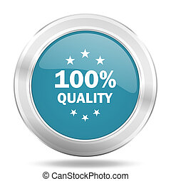 quality icon, blue round glossy metallic button, web and mobile app design illustration