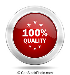 quality icon, red round glossy metallic button, web and mobile app design illustration