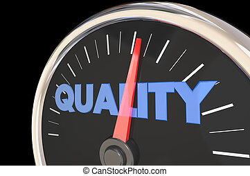 Quality Improving Speedometer Top Level 3d Illustration