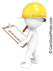 Quality Inspection. - 3D little human character The Builder...