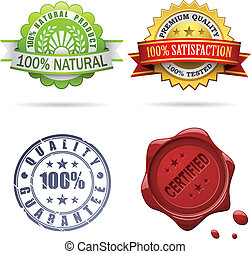 Quality labels and seals vector set isolated on white.