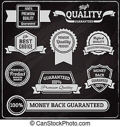 Quality labels chalkboard