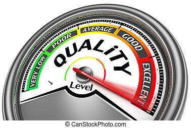 quality level meter indicate maximum, isolated on white...