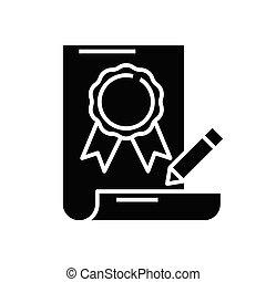 Quality mark black icon, concept illustration, vector flat symbol, glyph sign.
