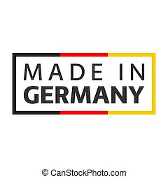 Quality mark Made in Germany, colored vector symbol with German tricolor isolated on white background