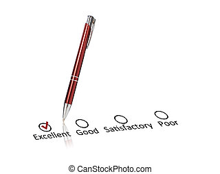 Quality. - Pen and checklist isolated over white background.