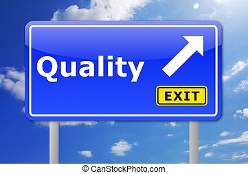 quality product concept with road sign illustration