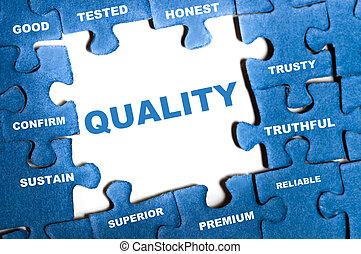 Quality puzzle - Quality blue puzzle pieces assembled