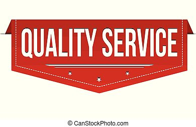 Quality service banner design on white background, vector...