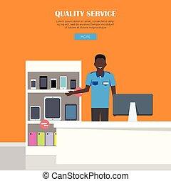 Quality Service Concept - Quality service concept. Smiling...