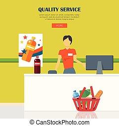 Quality Service Concept - Quality service concept. Woman in...