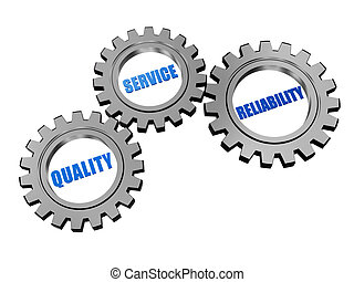 quality, service, reliability - words in 3d silver grey gearwheels, business concept
