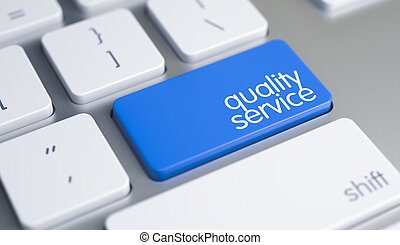 Quality Service - Text on the Blue Keyboard Button. 3D.