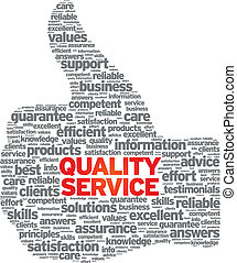 Quality Service Thumbs up illustration on white background.