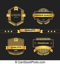 Quality - Set of retro vintage badges and labels. Vector...