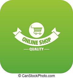 Quality shop icon green vector