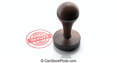 Wooden round rubber stamper and stamp with text quality isolated on white background. 3d illustration