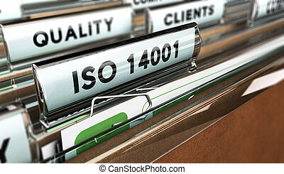 Quality Standards, ISO 14001. - Close up on a file tab with ...