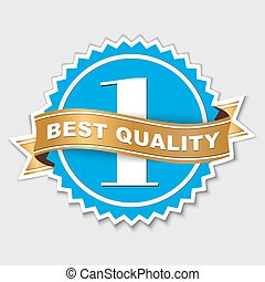 quality sticker with gold ribbon