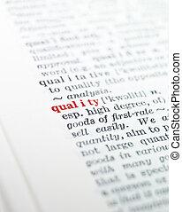 'quality', světelné zvýraznění, vzkaz, slovník