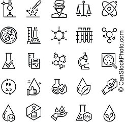 Quality tested icons. Dermatology, artificial free or hypoallergenic symbol. Skin tests, no flavor and no alcohol. Research vector symbols
