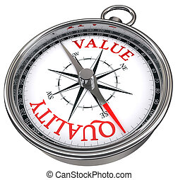 quality versus value concept compass isolated on white background