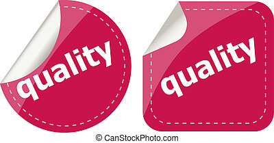 quality word on stickers button set, label