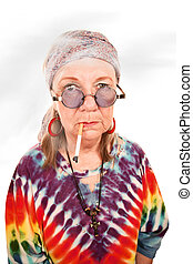 qualmende , älter, dame, hippie