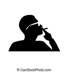 qualmende , vektor, mann, zigarette