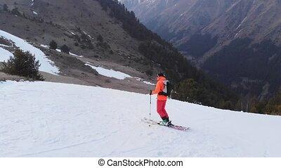 quand, printemps, complet, saut, ski, kicker, aerial-looking...