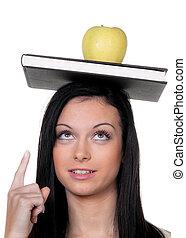 quando, maçã, estudante, aprender