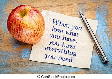 quando, tu, amor, que, ..., inspiraitonal, citação, ligado, guardanapo