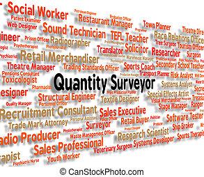 Quantity Surveyor Shows Employment Measurer And Words -...