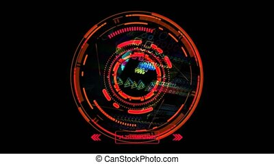 Quantum computer futuristic red technology polygon digital holographic process and analysis for big data and abstract background