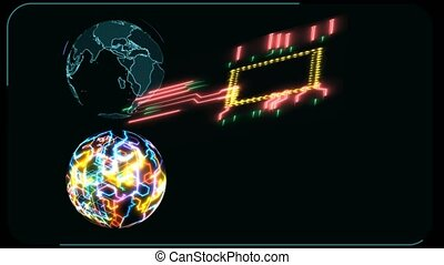Quantum computer futuristic technilogy digital holographic and high speed laser scan earth map to process and analysis for big data