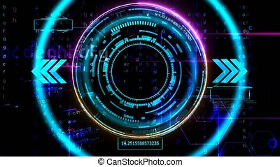 Quantum computer futuristic technology digital dimension holographic process analysis for big data and abstract matrix alphabet with polygon background
