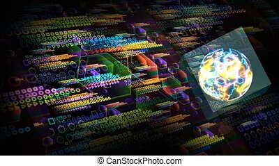 Quantum computer in the cube futuristic technology digital layer dimension holographic process and analysis for big data and abstract polygon background