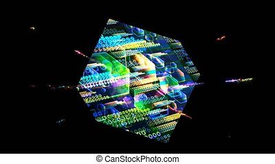 Quantum computer in the cube futuristic technology digital layer dimension holographic process and analysis for big data and abstract orange zone polygon background