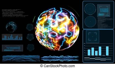 Quantum computer monitor futuristic technilogy digital holographic and high speed laser scan earth map to process and analysis for big data