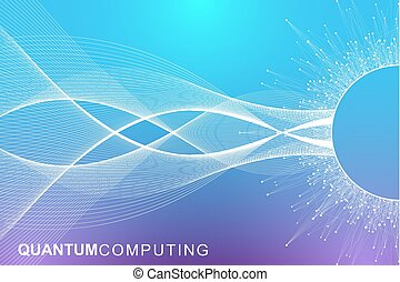 Quantum computer technology concept. Deep learning artificial intelligence. Big data algorithms visualization for business, science, technology. Waves flow. Vector illustration.