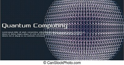 Quantum computing, deep learning artificial intelligence, signal cryptography infographic vector illustrations. Big data algorithms visualization for business, science presentations. Vector abstract