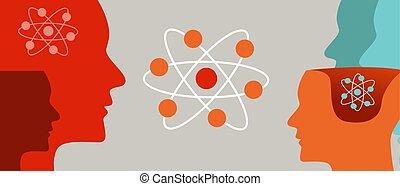 quantum, lernen, kopf, atom, molekular, neutron, physik, gehirn, verstand, wissenschaftlich, theorie