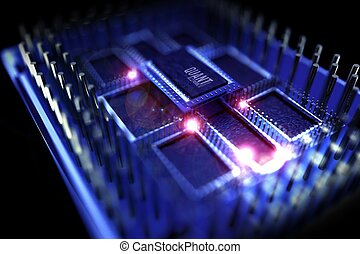 Quantum Processor Illustration. Quantum Computing Theme. 3D Rendered Model of the Processor. Superconducting Chip. Technology Illustrations Collection