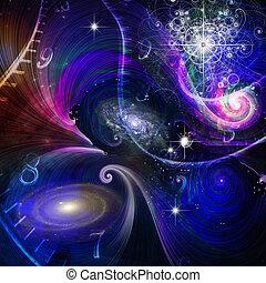 quantum, ruimte, fysica, tijd