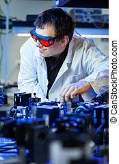 quantum, scienziato, ottica, laboratorio, ricerca