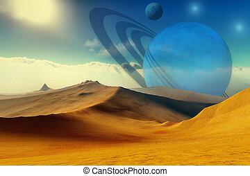 QUANTUM SIGNATURE - A beautiful desert planet and its moons.